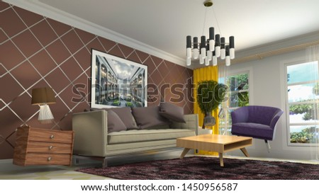 Zero Gravity Sofa hovering in living room. 3D Illustration #1450956587