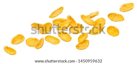 Falling corn flakes. Traditional dry breakfast cereal isolated, flying cornflakes on white background, with clipping path #1450959632