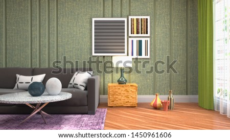 Interior of the living room. 3D illustration. #1450961606
