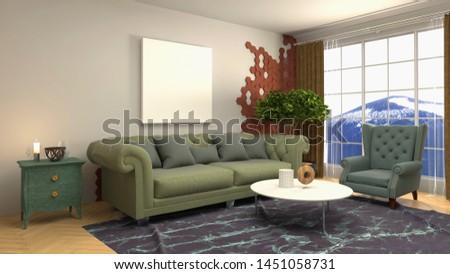 mock up poster frame in interior background. 3D Illustration #1451058731