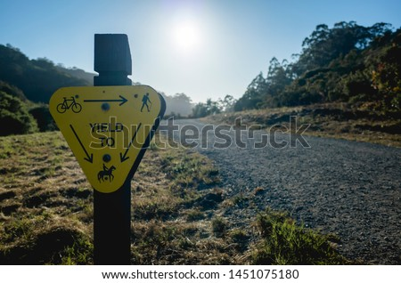 three way yield sign along a concrete road
