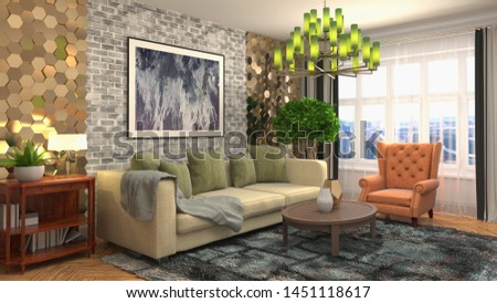 Interior of the living room. 3D illustration. #1451118617