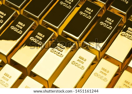 Gold bars in a row. Financial concepts. #1451161244
