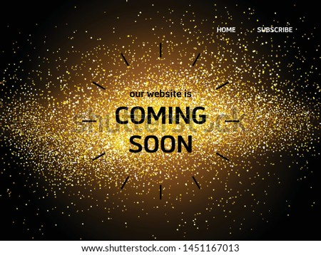Website landing page with coming soon words and gold sparkle lights #1451167013