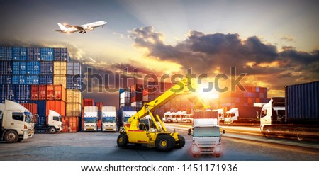 Logistics and transportation of Container Cargo ship and Cargo plane with working crane bridge in shipyard at sunrise, logistic import export and transport industry background #1451171936