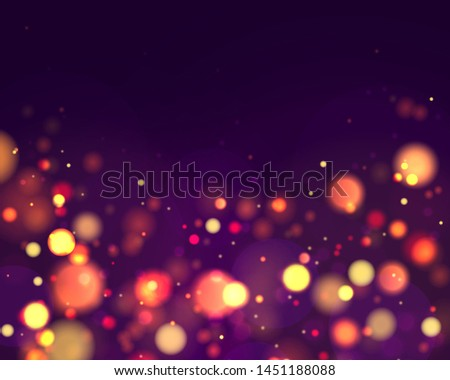 Festive purple and golden luminous background with colorful lights bokeh. Christmas concept Xmas greeting card. Magic holiday poster, banner. Night bright gold sparkles Vector Light abstract #1451188088
