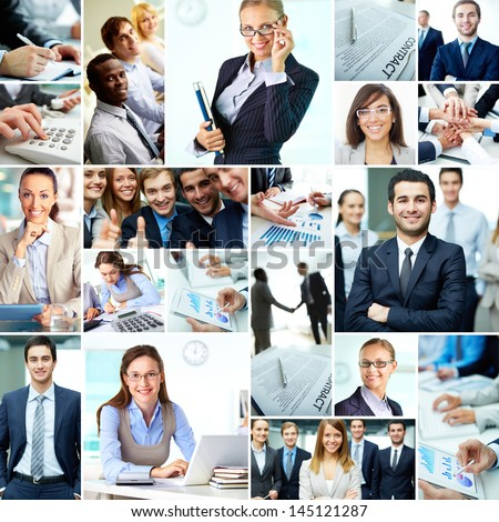 Collage of smart businesspeople, business objects and hands of co-workers #145121287