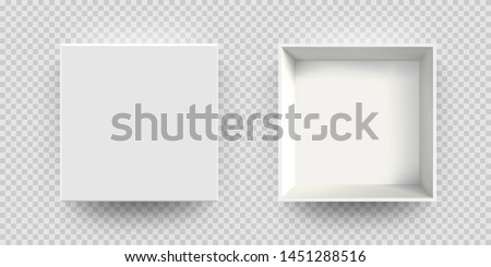 White box mock up vector 3D model top view. Isolated blank realistic open cardboard paper box mockup template Royalty-Free Stock Photo #1451288516