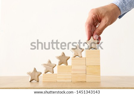 business concept image of setting a five star goal. increase rating or ranking, evaluation and classification idea #1451343143