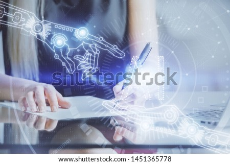 Double exposure of woman's writing hand on background with data technology hud. Big data concept. #1451365778