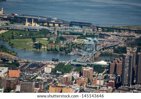 New York City Buildings and Bridge seen from Helicopter. #145143646