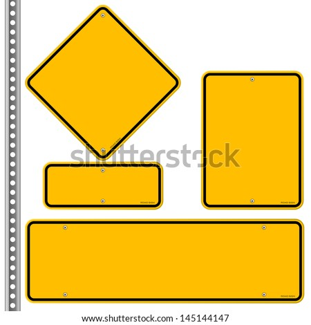 Yellow Roadsigns Set #145144147