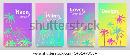 Glitch hologram texture with iridescent neon gradient palms. Set of backgrouns. Fluorescent bright neon colours cover, template, card, brochure, flyer. #1451479334