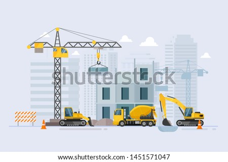 Under construction Building work process with construction machines. Vector illustration Royalty-Free Stock Photo #1451571047