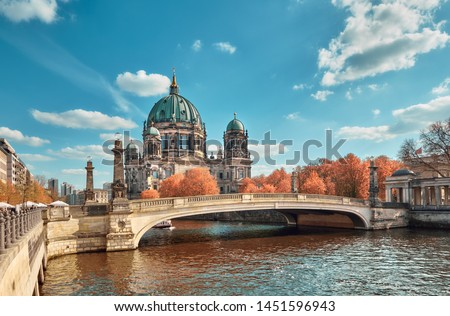 Berlin Cathedral with a bridge over Spree river in Autumn, toned image #1451596943
