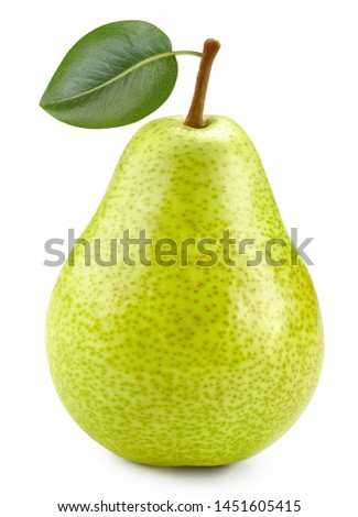 Pears with leaf on white background. One fresh pears clipping path. Quality photo for your project. #1451605415