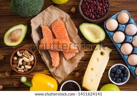 Keto diet ingredient . Healthy background . Ketogenic protein food . #1451624141