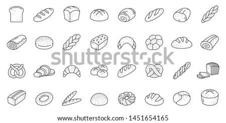 Bread thin line icon set. Bakery collection of simple outline signs. Fresh baking symbol in linear style. Toast, baguette, bun contour flat icons design. Isolated on white concept vector Illustration #1451654165