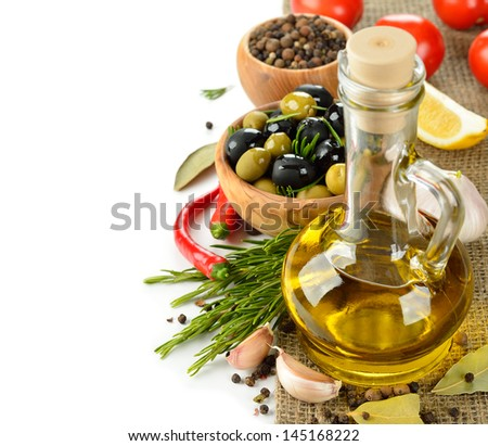 Olive oil with rosemary and spices on a white background #145168222