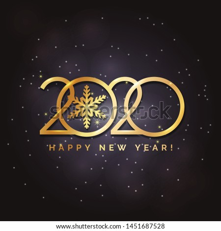 Happy New Year 2020 logo text design. Concept design. Vector modern illustration of gold text. Golden luxury inscription. Christmas background with blur, glare, stars, snowflakes, snow. #1451687528