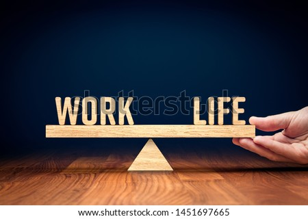 Work life (work-life) balance concept. Helping hand of personal coach helps with work and life balance. #1451697665