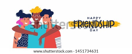 Happy friendship day web banner with diverse friend group of people hugging together. Young generation team hug on social event holiday. Royalty-Free Stock Photo #1451734631
