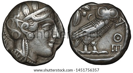 Illyria and Central Greece – Attica silver coin tetradrachm 454-404 BC, helmeted head of Athena right, olive sprig and crescent behind standing owl,                               #1451756357