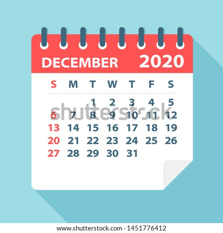 December 2020 Calendar Leaf - Illustration. Vector graphic page Royalty-Free Stock Photo #1451776412