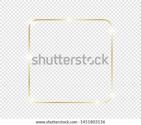 Gold shiny glowing frame with shadows isolated on transparent background. Golden luxury vintage realistic rectangle border. illustration - Vector #1451803136