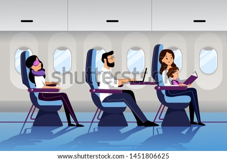 People travel by airplane in economy class. Vector flat cartoon illustration. Young mother travel with infant baby. Plane interior with sleeping and working passengers. #1451806625