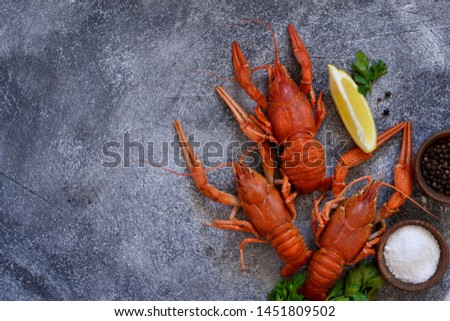 Crayfish boiled with spices on the kitchen table. View from above. #1451809502