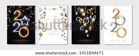 Christmas and New Year posters set with hanging gold and silver 3d baubles and 2020 numbers. Vector illustration. Winter holiday invitations with geometric decorations #1451844671