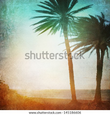 Grunge Paper Beach Background