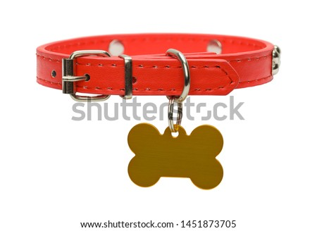 Red Leather Dog Collar with Gold Dog Tag Isolated on White. Royalty-Free Stock Photo #1451873705