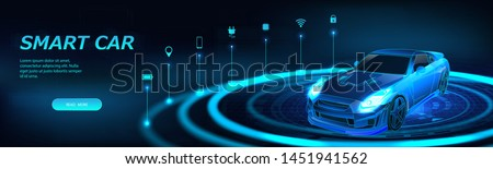 Isometric smart car banner. Autonomous car with icons. Electric machine infographic banner. Futuristic isometric smart car and icons with machine benefits. Intelligent 3D car - vector banner. #1451941562