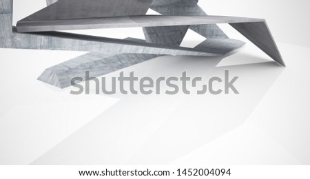 Abstract architectural concrete interior of a minimalist house. 3D illustration and rendering. #1452004094