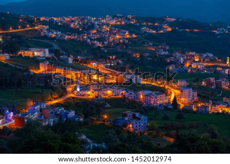 Panorama of blue Medina of Chefchaouen city at sunset in Morocco, Africa #1452012974
