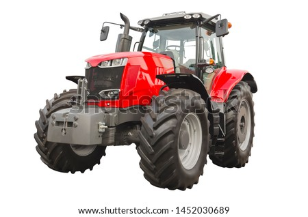 Big red agricultural tractor, front view #1452030689