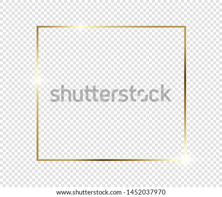 Gold shiny glowing frame with shadows isolated on transparent background. Golden luxury vintage realistic rectangle border. illustration - Vector #1452037970