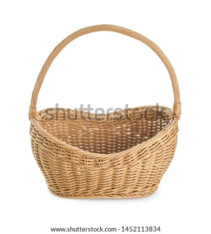 Empty wicker picnic basket on white background #1452113834