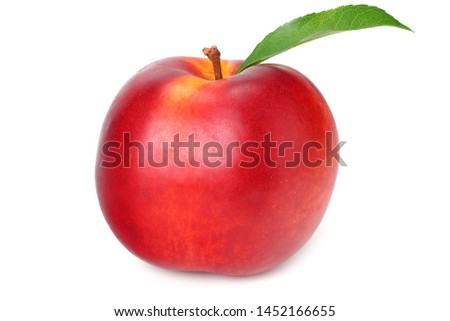 nectarine with green leaf isolated on a white background #1452166655