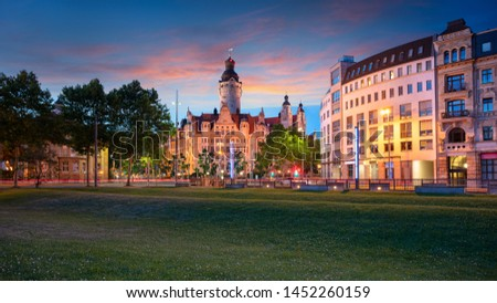 Leipzig, Germany. Cityscape image of Leipzig downtown with New Town Hall during beautiful sunset. #1452260159