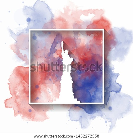 Silhouette Paper of United states of america on the splash watercolor in color of Global Flag. Vector design template. use for business, banner, advertisment or education. #1452272558
