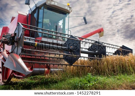 combine harvester in action under the summer sun #1452278291