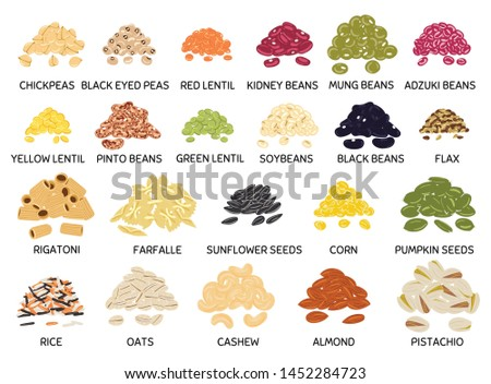 Set of hand drawn vector handful of beans, legumes, seeds and nuts. Chickpea, kidney bean, mung, soy, lentil, pinto beans, rice, oats, flax, pumpkin and sunflower seeds, pistachio, cashew, almond.  #1452284723
