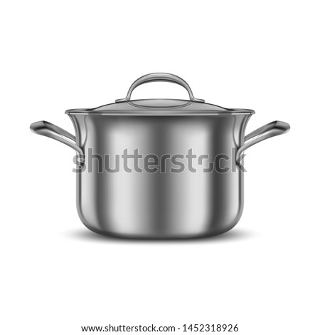 Stainless steel pan. Metal cooking pot. Kitchen utensil mockup. Cookware for cooking food. 3d realistic vector illustration isolated on white background #1452318926