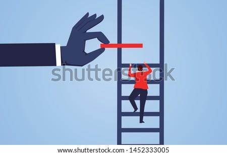 Climb up, hand help businessman build ladder Royalty-Free Stock Photo #1452333005