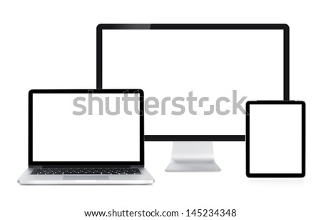 Computer display, laptop and tablet. Front view. Isolated on white background