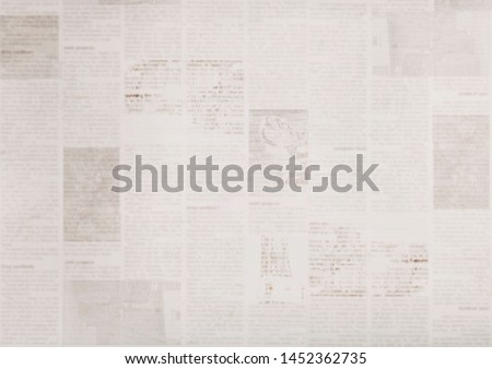 Vintage grunge newspaper paper texture background. Blurred old news background. A blur unreadable aged newspapers page with place for text. Gray brown beige collage news pages background. #1452362735
