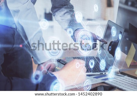 Multi exposure of tech drawings with man working on computer background. Concept of innovation. #1452402890